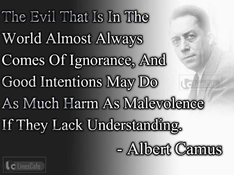 understanding human existence and its meaning through the famous quote of albert camus Though the stranger is a work of fiction, it contains a strong resonance of camus's philosophical notion of absurdity in his essays, camus asserts that individual lives and human existence in general have no rational meaning or order.