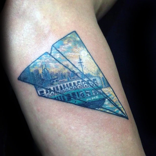 62 Great Paper Airplane Tattoo Designs Ideas Collections