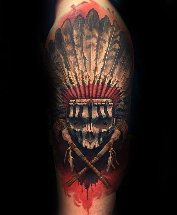 famous indian skull tattoo. Black Bedroom Furniture Sets. Home Design Ideas