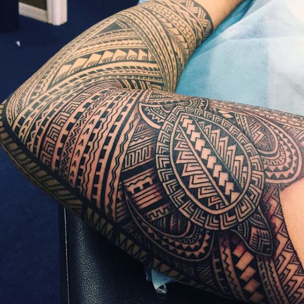 53 Outstanding Polynesian Sleeve Tattoo Designs Inked On