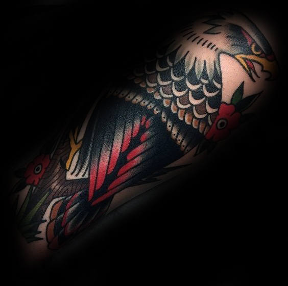 Traditional eagle tattoo forearm