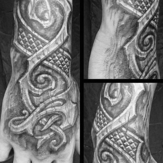 Wonderful wood carving tattoo designs and ideas for