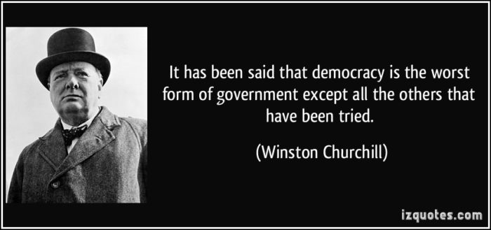 democracy worst form government except all others essay