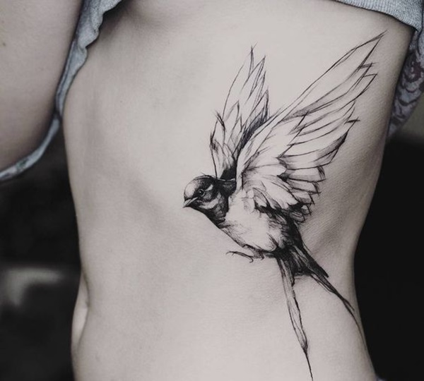 Beautiful Light Black Shaded Swallow Tattoo