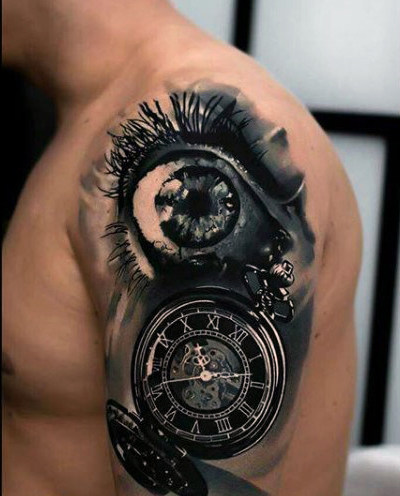 134 trendy clock tattoos ideas for Eye with clock tattoo