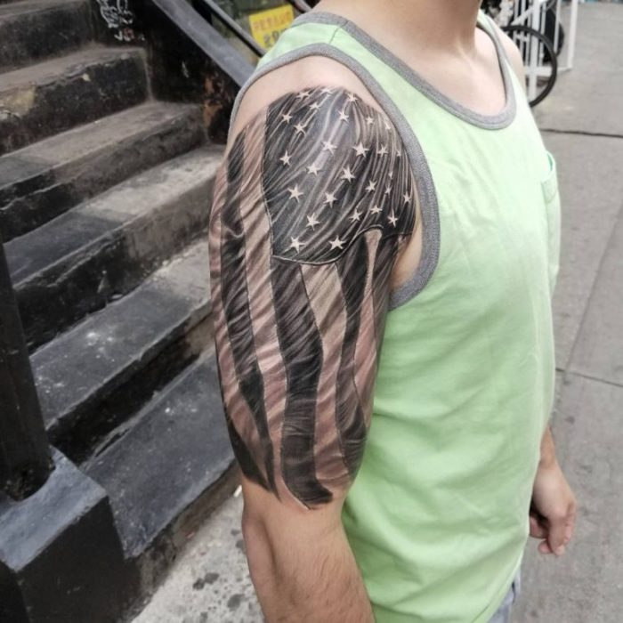 Unique american flag tattoos parryz today we have collected 151 impressive american flag tattoos for guys these tattoos are american flag with eagle tattoos on left forearm for men m4hsunfo