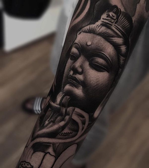 3d buddha tattoo design on forearm. Black Bedroom Furniture Sets. Home Design Ideas