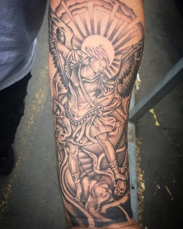 Amazing Protector Guardian Angel Tattoo On Male Forearm