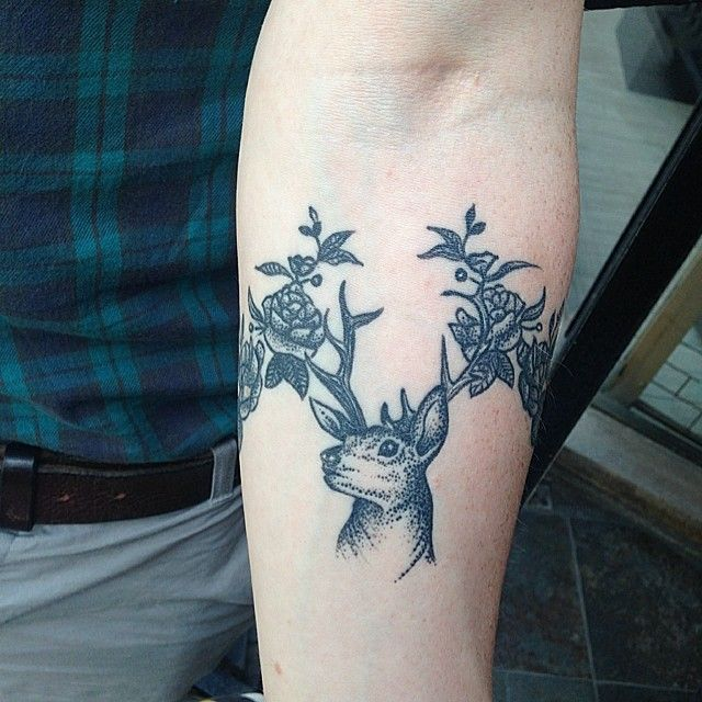 b7a890d89df18 Dotwork Floral Deer Tattoo On Arm - Parryz.com