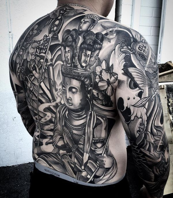 Grey And Black Buddha Tattoo Design On Man Back Parryzcom