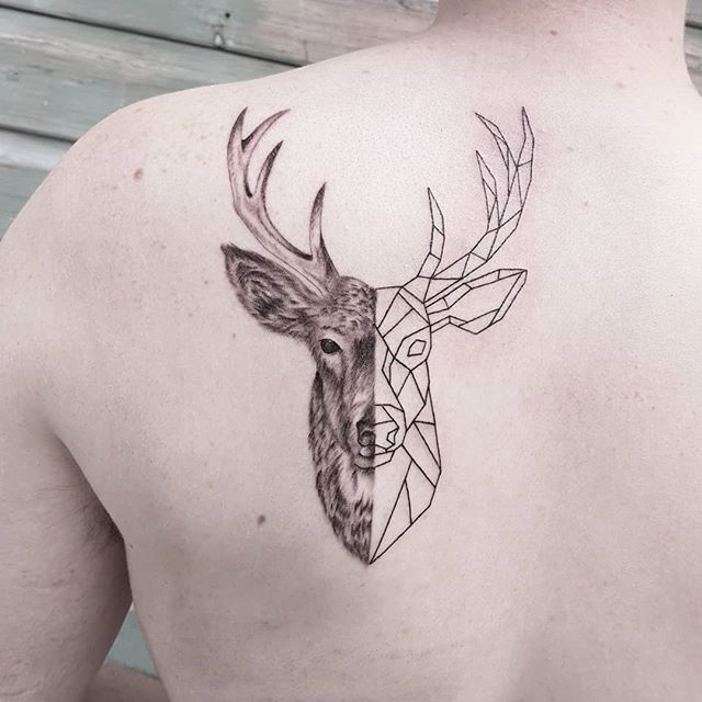 Deer Antler Tattoo On Side Rib Abstract Outline Shoulder Back Head Right Upper Arm Black N Grey