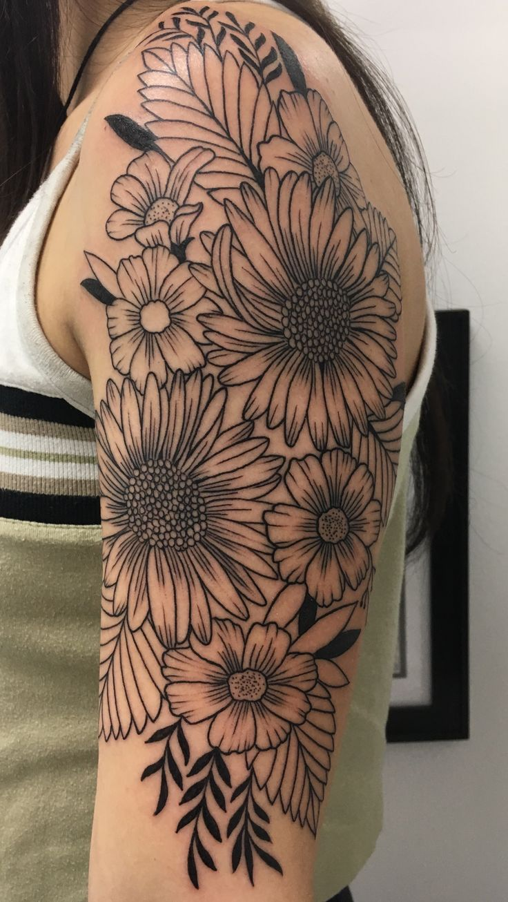 Half Sleeve Flower Tattoo For Girls Parryz Com