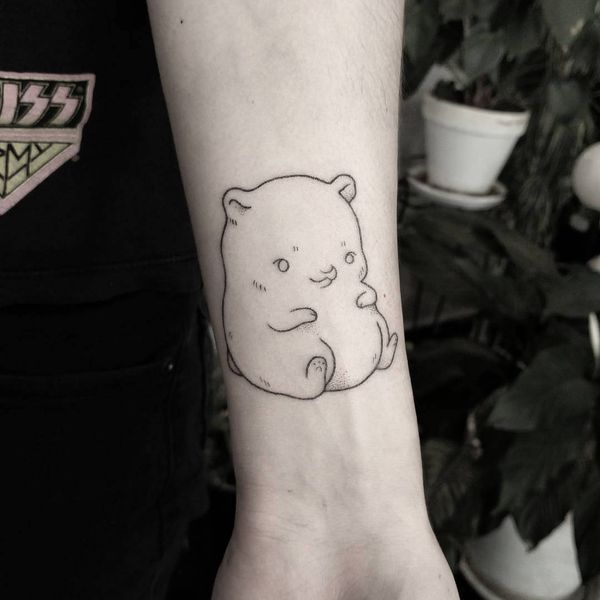 Incredible Outline Teddy Bear Tattoo On Lower Arm Parryz Com