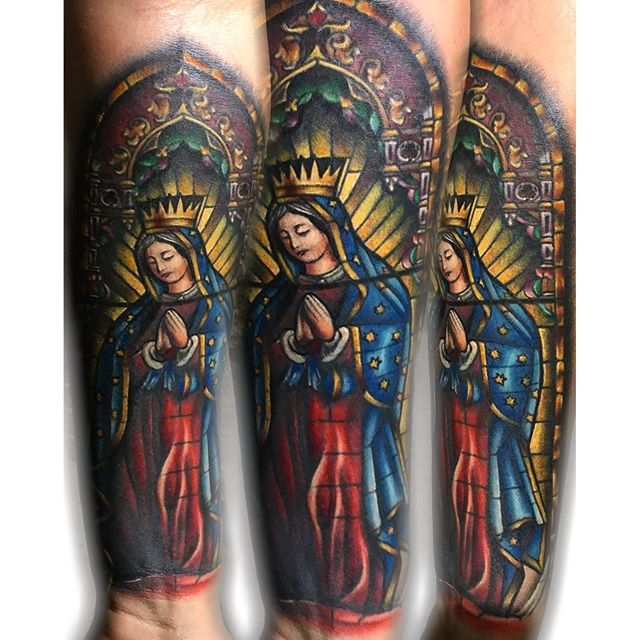 Praying Mary Stained Glass Tattoo Parryzcom
