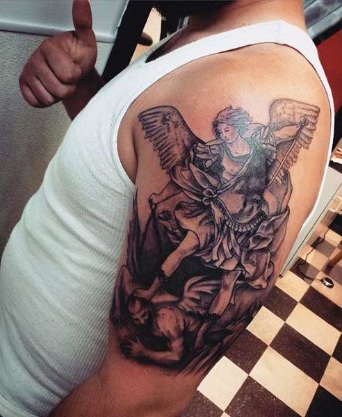 Spectacular Protector Guardian Angel Tattoo On Man Left Upper Arm