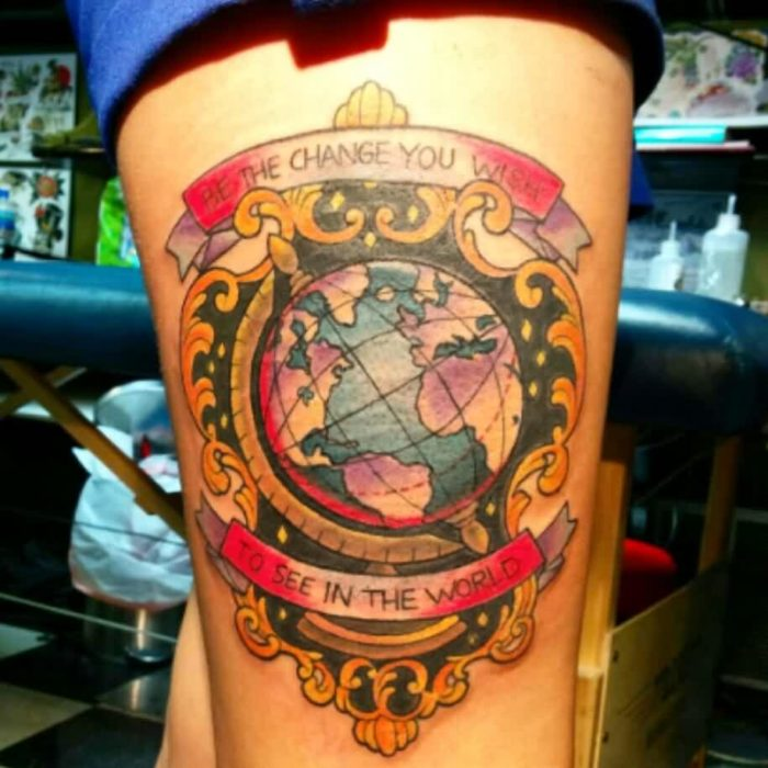 50 Incredible Globe Tattoo Ideas With Meanings Parryz Com