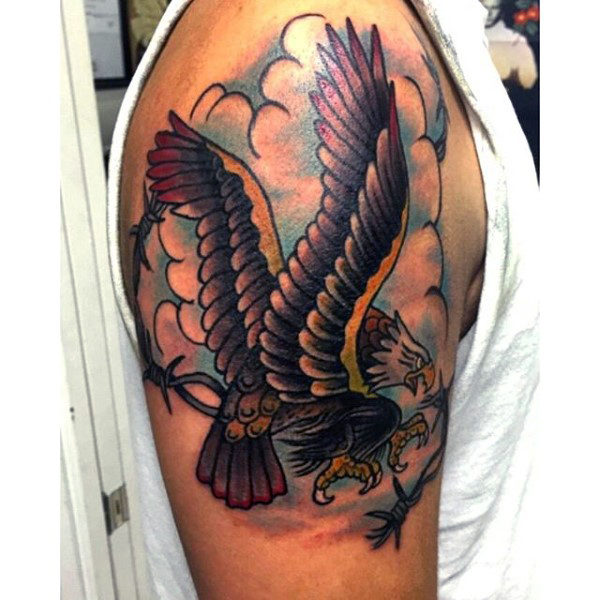 Colorful Barb Tattoo With Clouds Parryz Com